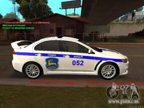 Mitsubishi Lancer X Police pour GTA San Andreas vue arrière