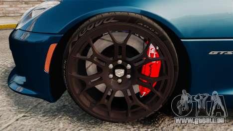 Dodge Viper SRT GTS 2013 pour GTA 4 Vue arrière