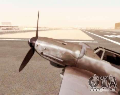Bf-109 G10 pour GTA San Andreas sur la vue arrière gauche