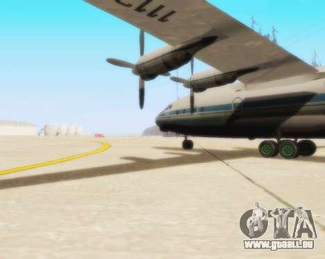L'Antonov-12 de Aeroflot pour GTA San Andreas sur la vue arrière gauche
