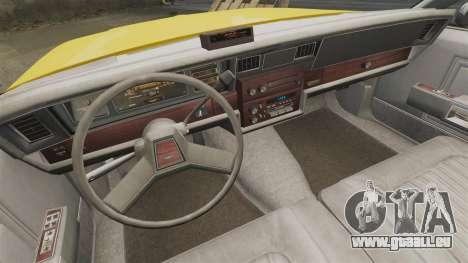 Chevrolet Caprice 1987 L.C.C. Taxi für GTA 4 Innenansicht