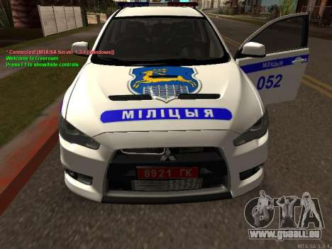 Mitsubishi Lancer X Police pour GTA San Andreas vue intérieure