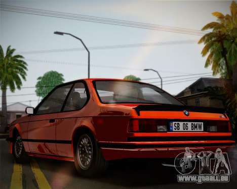 BMW E24 M635 1984 pour GTA San Andreas vue intérieure
