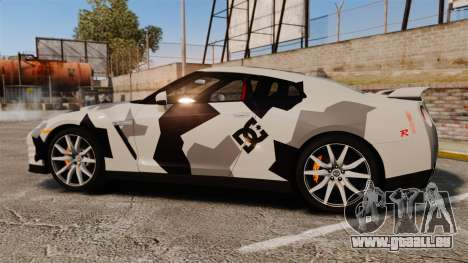 Nissan GT-R Black Edition 2012 Ski Slope Camo für GTA 4 linke Ansicht
