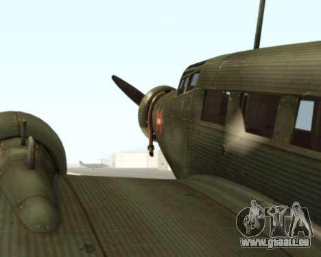 Junkers Ju-52 für GTA San Andreas Rückansicht