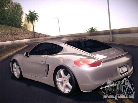 Porsche Cayman S 2014 für GTA San Andreas Rückansicht