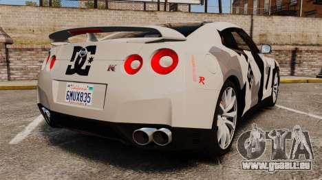 Nissan GT-R Black Edition 2012 Ski Slope Camo pour GTA 4 Vue arrière de la gauche