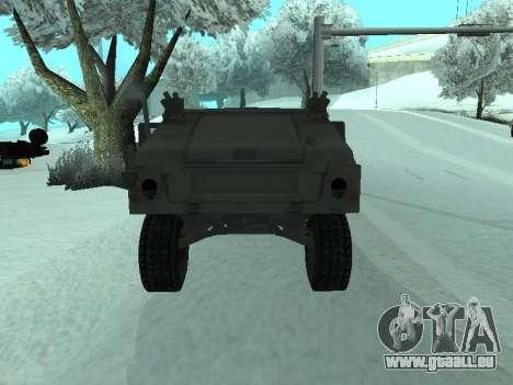Hummer H1 de la jeu Resident Evil 5 pour GTA San Andreas vue arrière