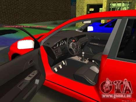 Mitsubishi Lancer Evo VIII pour GTA San Andreas laissé vue