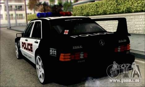Mercedes-Benz 190E Evolution Police pour GTA San Andreas sur la vue arrière gauche