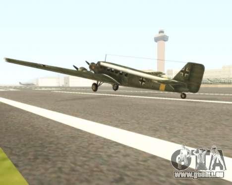 Junkers Ju-52 pour GTA San Andreas sur la vue arrière gauche