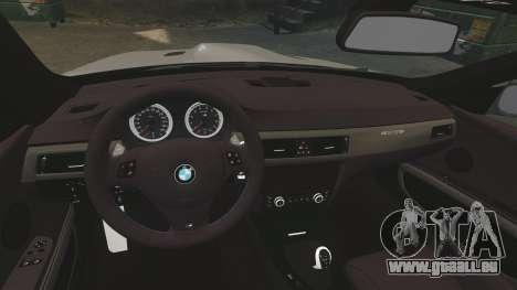 BMW M3 E92 GTS 2010 pour GTA 4 est une vue de l'intérieur