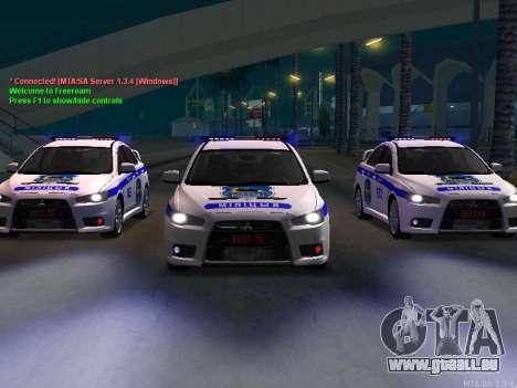 Mitsubishi Lancer X Police pour GTA San Andreas laissé vue