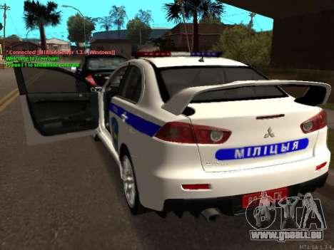 Mitsubishi Lancer X Police pour GTA San Andreas vue de droite