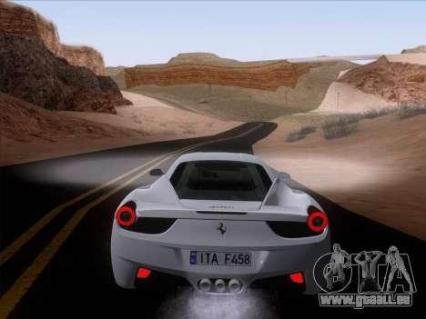 Ferrari 458 Italia 2010 pour GTA San Andreas laissé vue