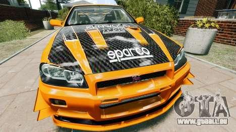 Nissan Skyline R34 GT-R NFS Underground für GTA 4 rechte Ansicht