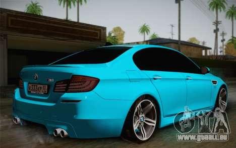 BMW M5 F10 v1 pour GTA San Andreas laissé vue