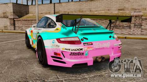 Porsche GT3 RSR 2008 Hatsune Miku für GTA 4 hinten links Ansicht