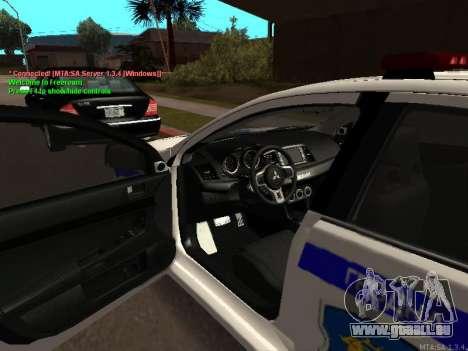 Mitsubishi Lancer X Police pour GTA San Andreas sur la vue arrière gauche