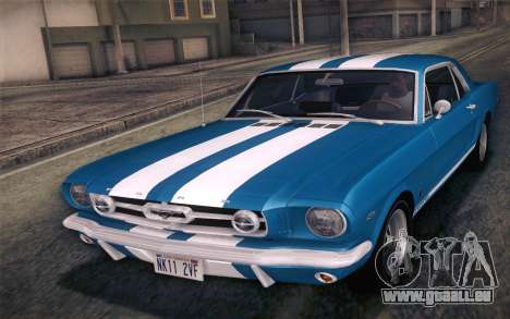 Ford Mustang GT 289 Hardtop Coupe 1965 pour GTA San Andreas salon
