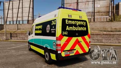 Mercedes-Benz Sprinter Australian Ambulance ELS pour GTA 4 Vue arrière de la gauche