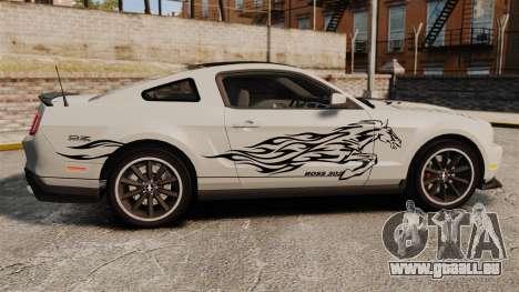 Ford Mustang 2012 Boss 302 Fiery Horse für GTA 4 linke Ansicht