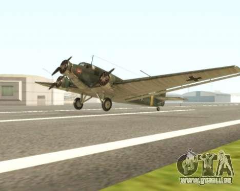 Junkers Ju-52 pour GTA San Andreas laissé vue