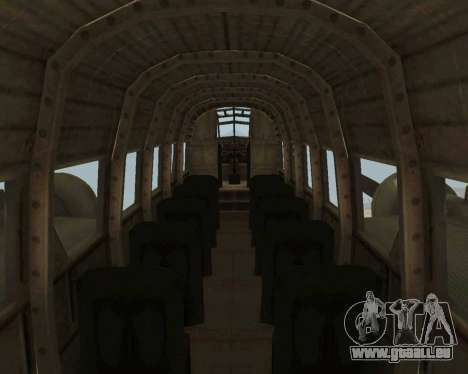 Junkers Ju-52 pour GTA San Andreas vue intérieure