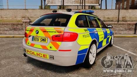 BMW 550d Touring Metropolitan Police [ELS] pour GTA 4 Vue arrière de la gauche