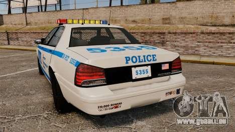 GTA V Vapid Police Cruiser NYPD für GTA 4 hinten links Ansicht