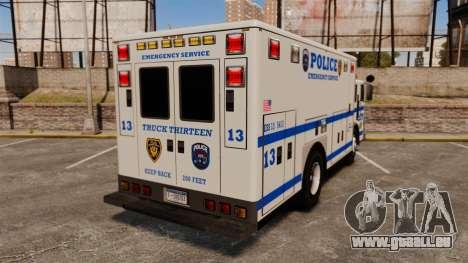 Hazmat Truck LCPD [ELS] pour GTA 4 Vue arrière de la gauche