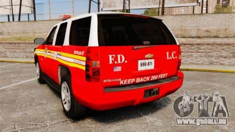 Chevrolet Tahoe Fire Chief v1.4 [ELS] pour GTA 4 Vue arrière de la gauche