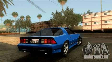 Chevrolet Camaro IROC-Z 1990 pour GTA San Andreas laissé vue