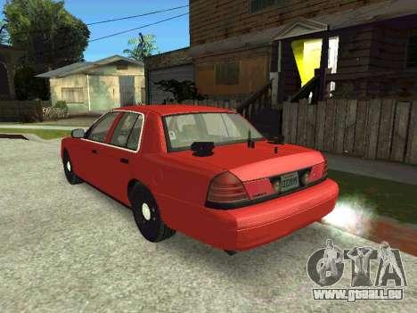 Ford Crown Victoria Unmarked Police für GTA San Andreas zurück linke Ansicht