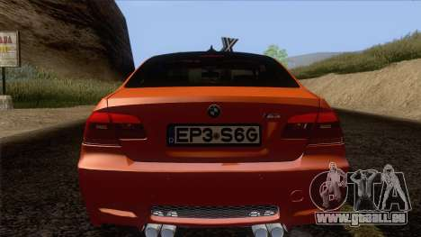 BMW M3 E92 2008 Vossen pour GTA San Andreas vue de dessous