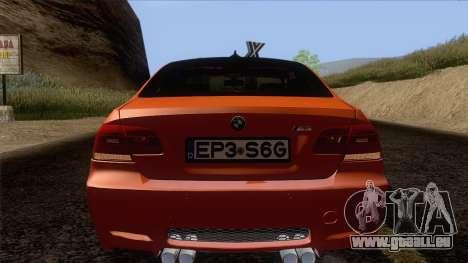 BMW M3 E92 2008 Vossen pour GTA San Andreas vue de dessus