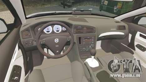 Volvo S60R Unmarked Police [ELS] pour GTA 4 est une vue de l'intérieur