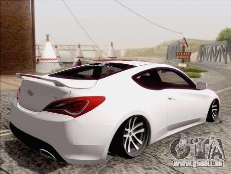 Hyundai Genesis Stance pour GTA San Andreas laissé vue