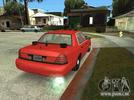 Ford Crown Victoria Unmarked Police pour GTA San Andreas laissé vue