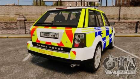 Range Rover Sport Metropolitan Police [ELS] pour GTA 4 Vue arrière de la gauche