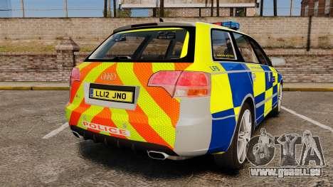 Audi S4 Avant Metropolitan Police [ELS] pour GTA 4 Vue arrière de la gauche