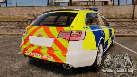 Audi RS6 Avant Metropolitan Police [ELS] pour GTA 4 Vue arrière de la gauche