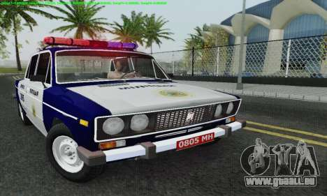 VAZ 2106 Police pour GTA San Andreas vue de dessus