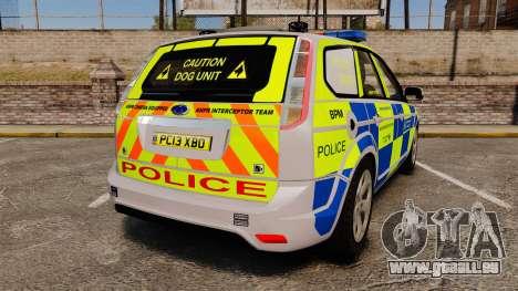 Ford Focus Estate Metropolitan Police [ELS] pour GTA 4 Vue arrière de la gauche