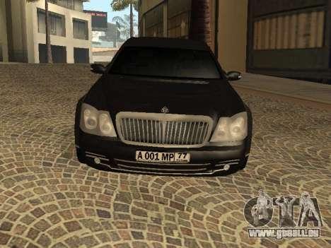 Maybach 62 V2.0 pour GTA San Andreas laissé vue