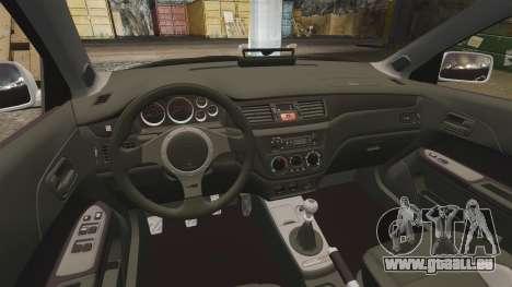 Mitsubishi Lancer Evolution IX Police [ELS] pour GTA 4 est une vue de l'intérieur