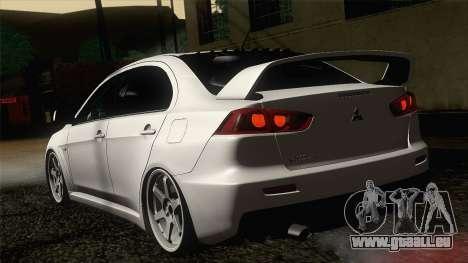 Mitsubishi Lancer X Evolution pour GTA San Andreas laissé vue