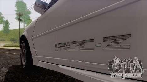 Chevrolet Camaro IROC-Z 1989 FIXED für GTA San Andreas Rückansicht