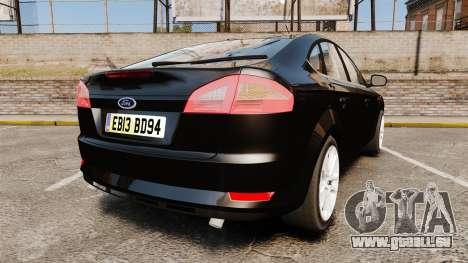 Ford Mondeo Unmarked Police [ELS] pour GTA 4 Vue arrière de la gauche
