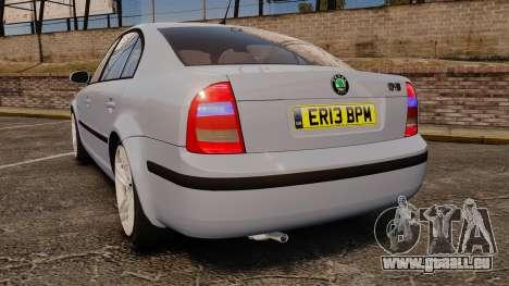 Skoda Superb 2006 Unmarked Police [ELS] pour GTA 4 Vue arrière de la gauche